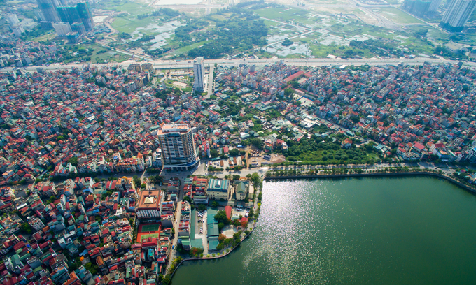 An aerial view of Hanoi skyline is captured from above. Photo by Shutterstock/Huy Thoai.