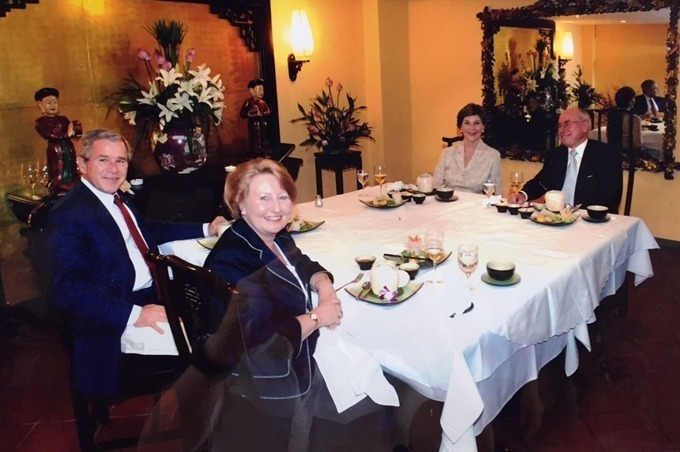 Former US President George W. Bush, Laura Bush and former Australian Prime Minister John Howard and his wife Janette Howard dined at Tib resturant in November 2006. Photo courtesy of Tib restaurant