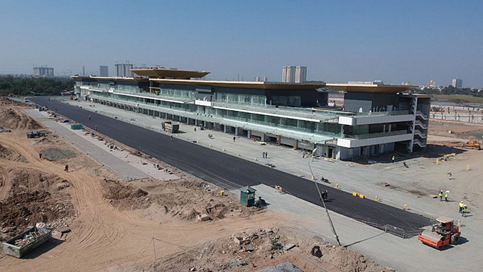 A photo of pit building and race track are being constructed. Photo courtesy of Vietnam Grand Prix Corporation.