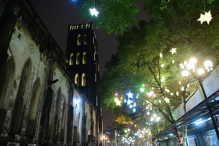 All the trees in the quad surrounding the cathedral are decorated with star-shaped lanterns and light strings.
