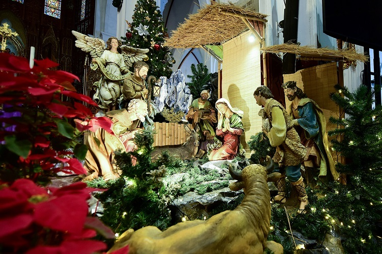 The nativity scene in a manger built in real life dimensions.