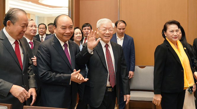 Party Chief and President Nguyen Phu Trong at a government meeting on December 30, 2019. Photo courtesy of Government Portal.