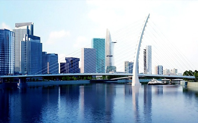 [Caption] An artists impression of Thu Thiem Bridge 2 connecting Thu Thiem New Urban Area with District 1, Ho Chi Minh City. Photo courtesy of Ho Chi Minh Citys Department of Transport.