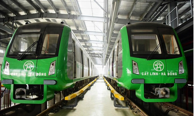 Trains seen on track of Hanois first metro line Cat Linh-Ha Dong. Photo by VnExpress/Giang Huy.