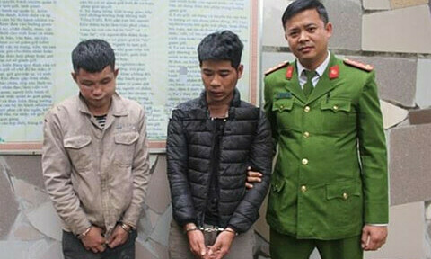 Nguyen Dinh Quang (L) and Nguyen Quang Trung are held at a police station in Nghe An Province for stealing dogs and attacking police officers. Photo courtesy of Nghe An Police.