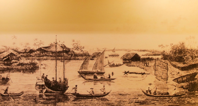 One of the oldest items showcased at the event is a painting in 1820 about a port of Saigon by American customs officer John White.