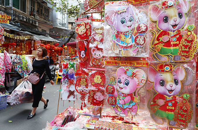 For the Year of Rat, many items and Tet decorations sold on Hang Ma Street, famous for selling toys, paper goods and in particular votive paper offerings, also take inspiration from the zodiac animal.  The country will enjoy a seven-day Tet holiday staring January 23, two days before Lunar New Year.