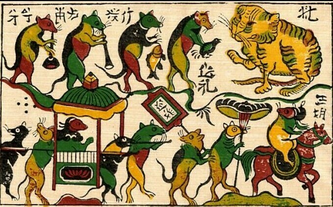 Dong Ho folk painting Dam cuoi chuot or Rats wedding.