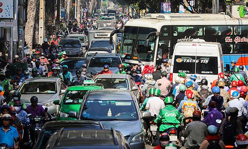 Tet travel rush has Saigon traffic in a jam