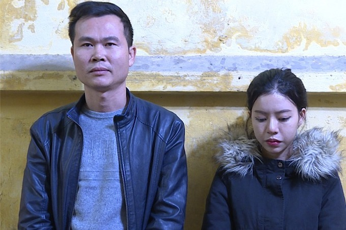 Nguyen Cong Hoang and Vu Quynh Mai were fined for spreading fake news on the 2019-nCoV outbreak. Photo courtesy of Bac Ninh police.