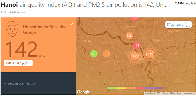 Air quality was at unhealthy levels at different spots in Hanoi at 4 p.m. on February 6, 2020, according to Air Visual.