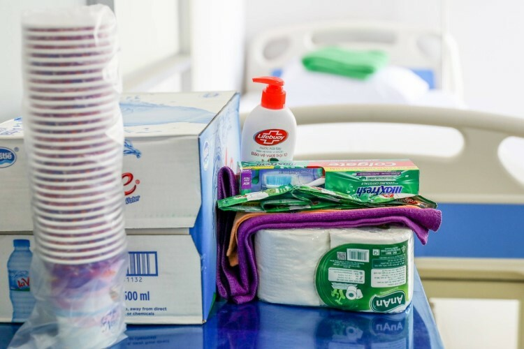 The rooms also have personal hygiene tools like toothpaste, soap or paper tissues.
