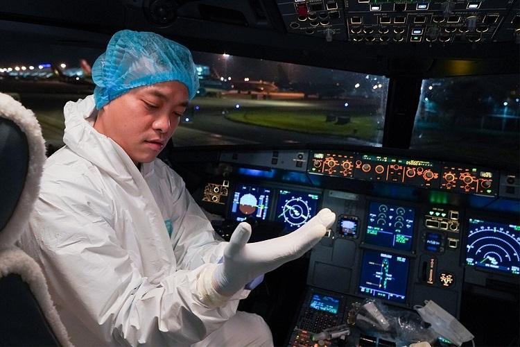 A pilot wears a protective suit.