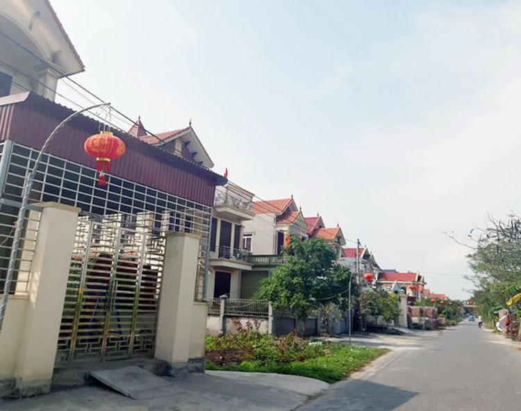 Houses on a road in Quan Moi 4 Village, Dai Hop Commune, Hai Phong City. Photo by VnExpress/Pham Nga.