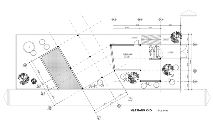 Blueprint of the storage area on the ground.