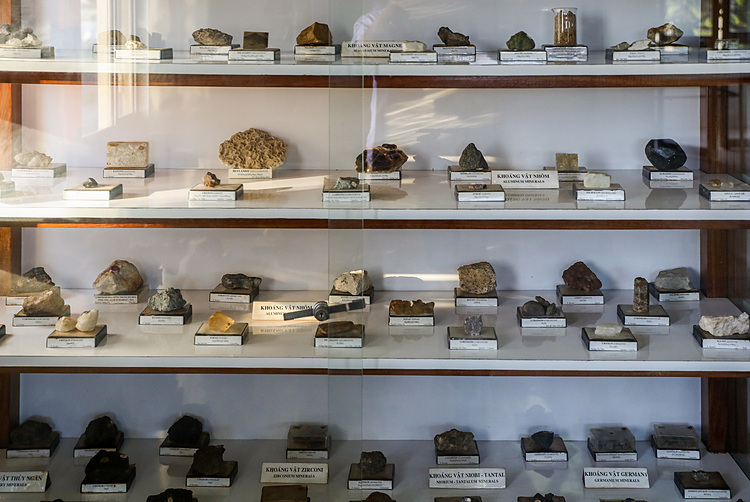 Stone samples dating back tens of millions of years are displayed in glass cabinets. The curator said most of the specimens were collected by the French in Indochina (Vietnam, Laos, and Cambodia).