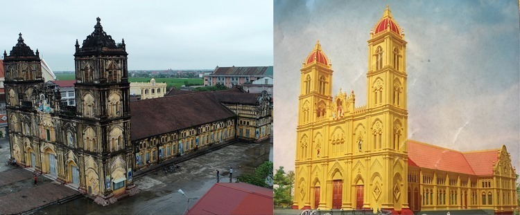 The old cathedral (L) and picture of the new one. Photo by VnExpress/Giang Huy.