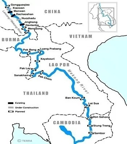 Existing and proposed dams on the Mekong River in various countries, including the Xayaburi dam. Photo courtesy of International Rivers.