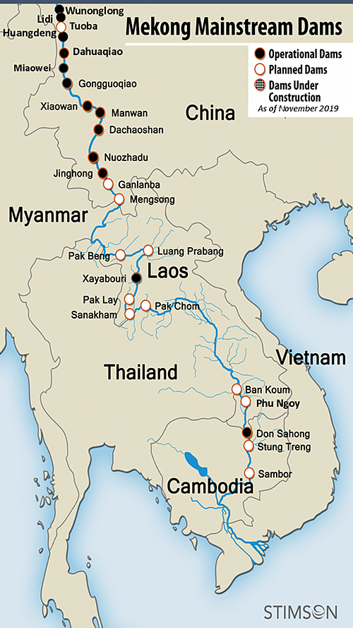 A map of dams along the Mekong River as provided by the Stimson Center ASEAN Infrastructure Database.