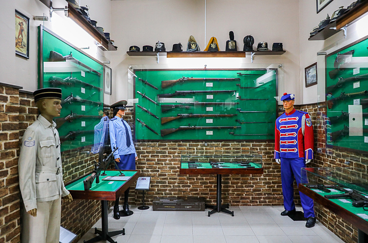 Uniforms and weaponry from World War II, the North Korean and Vietnam wars.