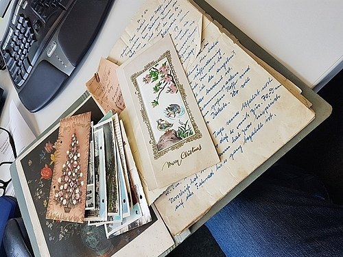 Some of the letter and postcard exchange between Wolfgang Redlich and his mother, Agnes Redlich between 1952 and 1962. Photo courtesy of Friedhelm Redlich.