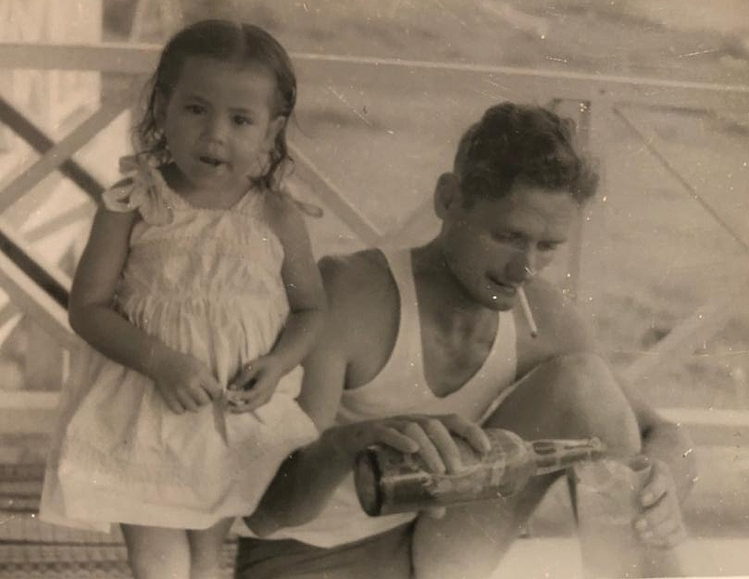 Karin, believed to be about two years old at the time of taken, and her father Wolfgang Redlich in a picture sent to Wolfgangs mother. Photo courtesy of Friedhelm Redlich.