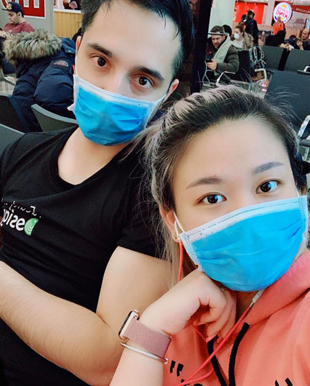 Hoai Anh and Amir don masks while laying over in Moscow, Russia on February 1, 2020. Photo courtesy of Do Lenh Hoai Anh.
