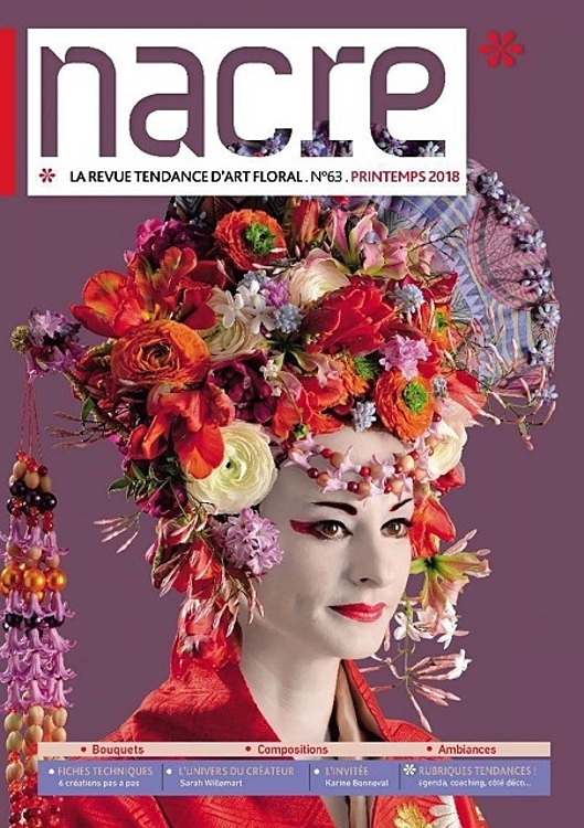 Khois floral arrangement on the cover of floral art Nacre magazines Spring 2018 issue. Photo courtesy of Khoi.