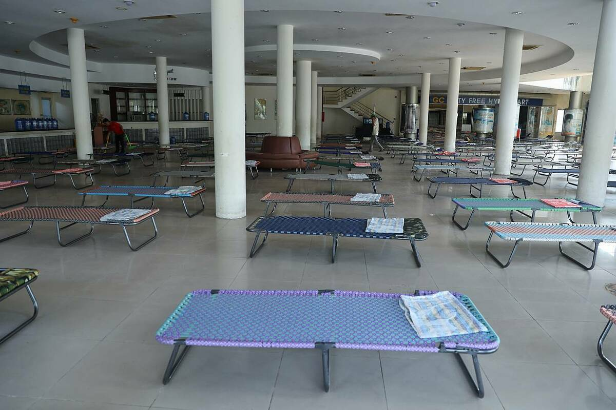 [Caption]The dining area of the supermarket has been cleaned and filled with reclining deck chairs.