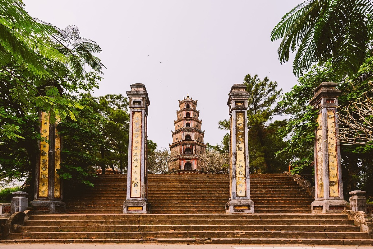 Thien Mu Pagoda in Hue is considered one of the most sacred places in Vietnam. The Buddhist temple, overlooking the Perfume River, was built in 1601.