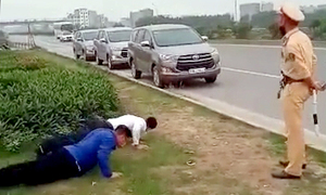 Maskless drivers affirm health via push-ups