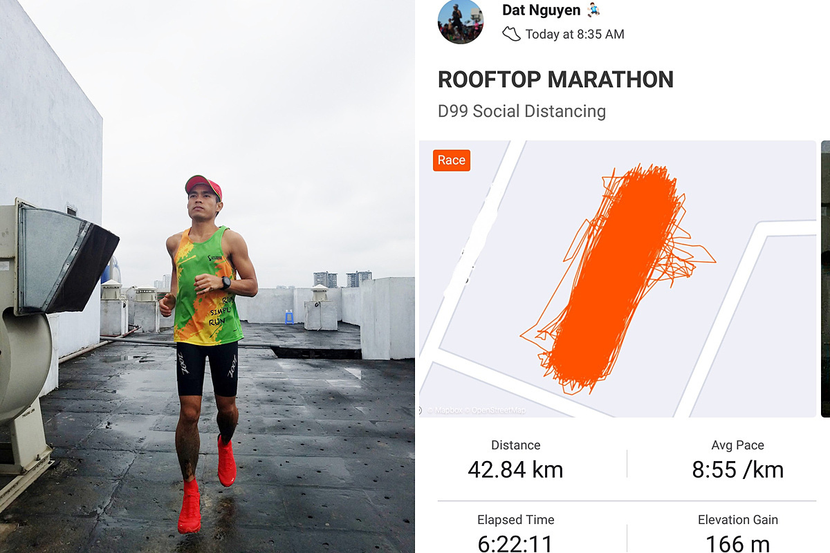 Nguyen Tien Dat running a marathon on his apartments rooftop in Hanoi. Photo courtesy of Dat.