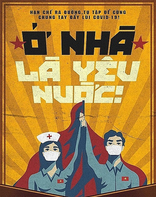 The poster saying to stay at home is to love your country drawn by Le Duc Hiep. Photo courtesy of Le Duc Hiep.