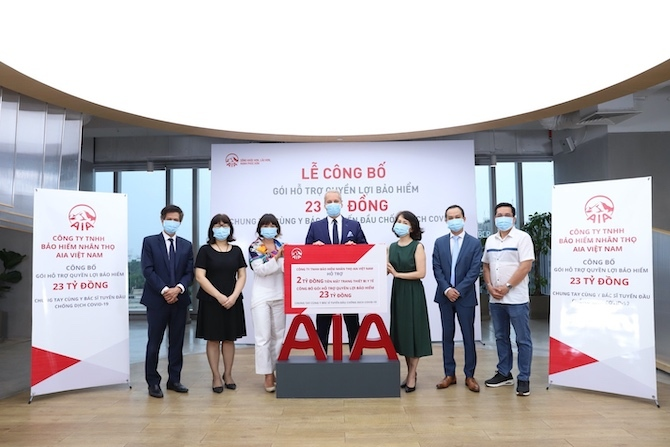Representatives of AIAboard of directorsat theannouncement of thefinancialassistancepackage forfrontlinedoctorsin the Covid-19 fight