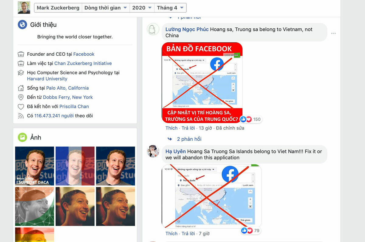 Vietnamese users say the Spratly and Paracel Islands belong to Vietnam on CEO Mark Zuckerbergs Facebook page. Screenshot by VnExpress/Khuong Nha.