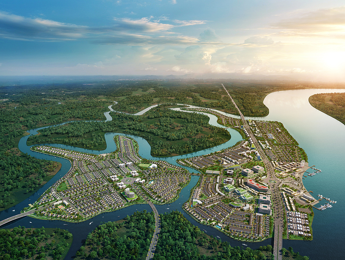 [Aqua City has a large scale of 600 hectare in the east of HCMC, is surrounded by the large rivers and green spaces.