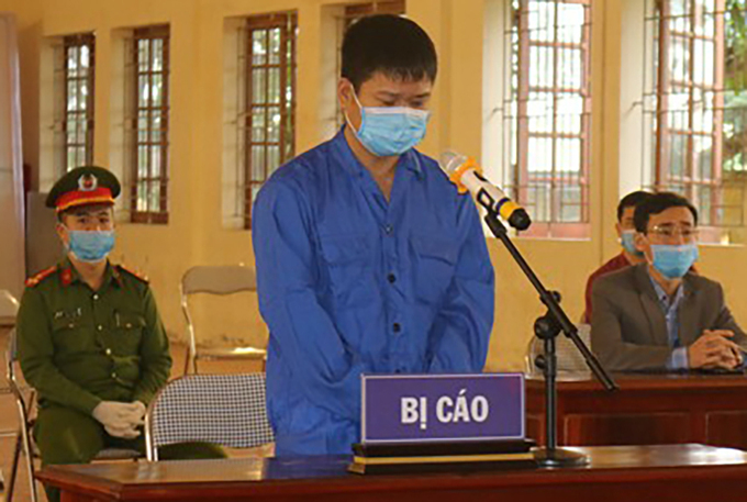 Le Quang Huy at the Nam Sach District Peoples Court, Hai Duong Province. Photo by VnExpress/Minh Hanh.