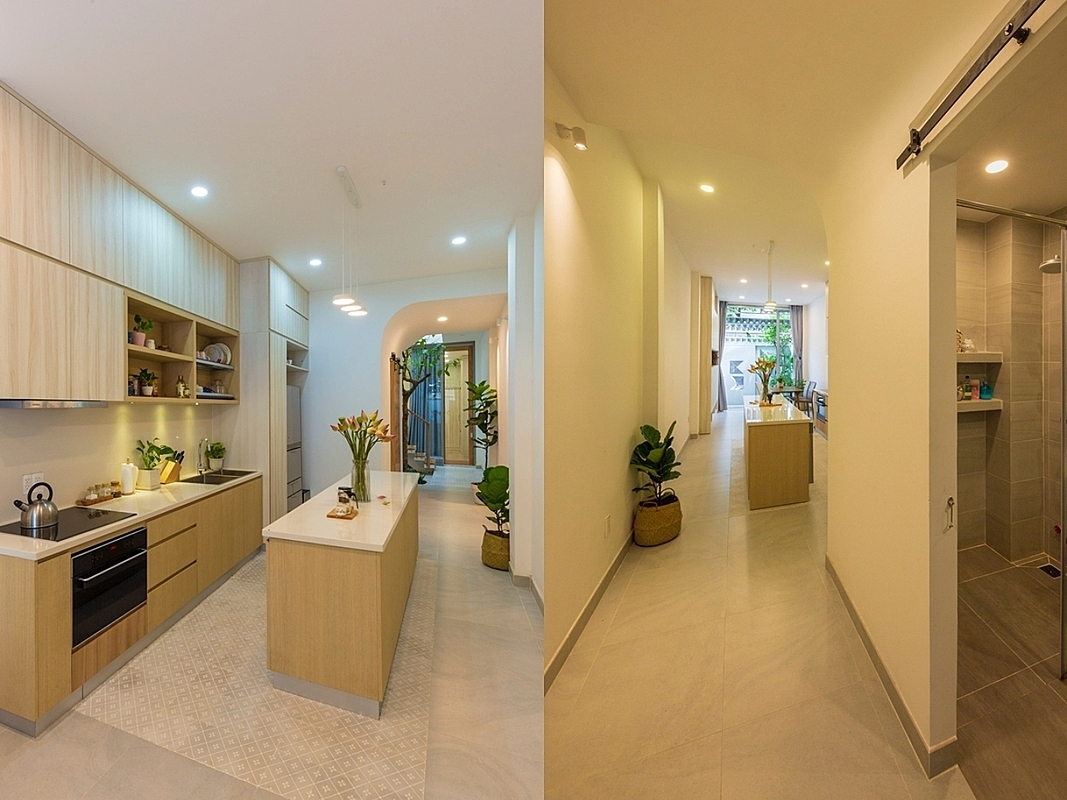 Kitchen and restroom on the ground floor.