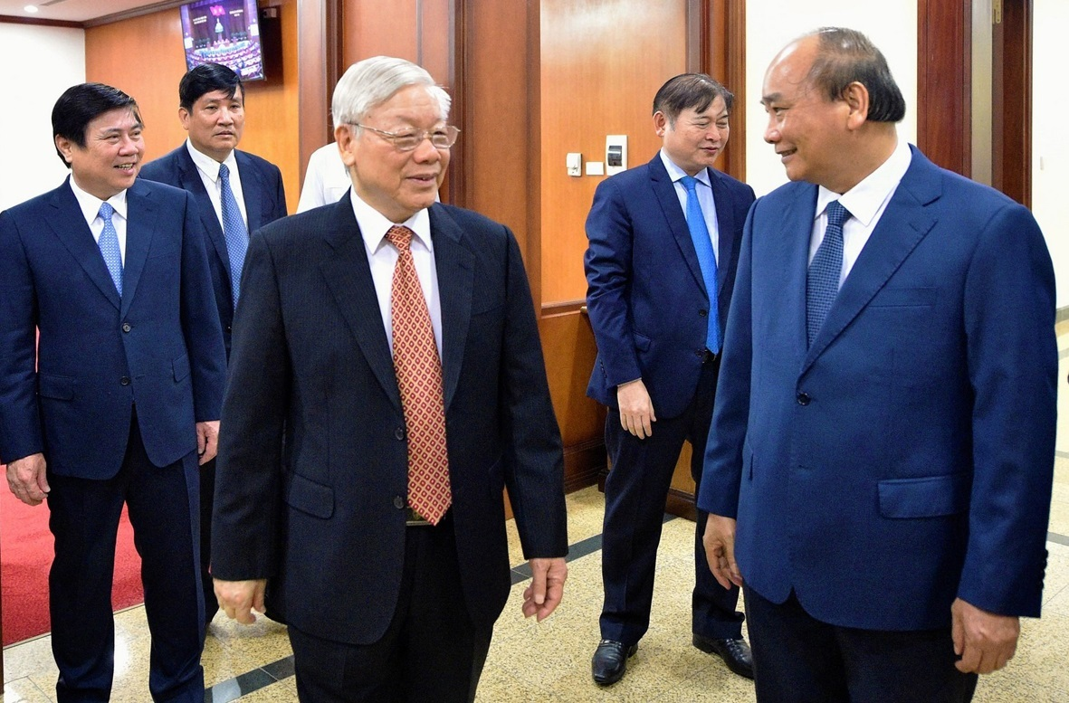 (Front) Party Secretary and President Nguyen Phu Trong (L) with Prime Minister Nguyen Xuan Phuc at the 12th Plenum of the 12th Party Central Committee in Hanoi, May 11, 2020. Photo courtesy Vietnam Government Portal.