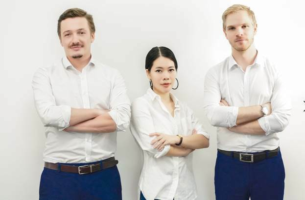 Buy2Sell directors (From left) BarnabéChevillotte, Elena Hong and Harry Morant.