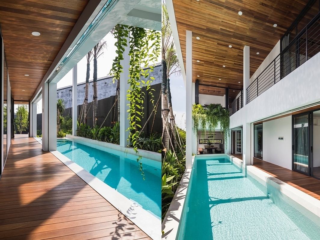 Plants are grown at many areas in the house, along the 64-meter-square pool, which also connects all spaces of the house.