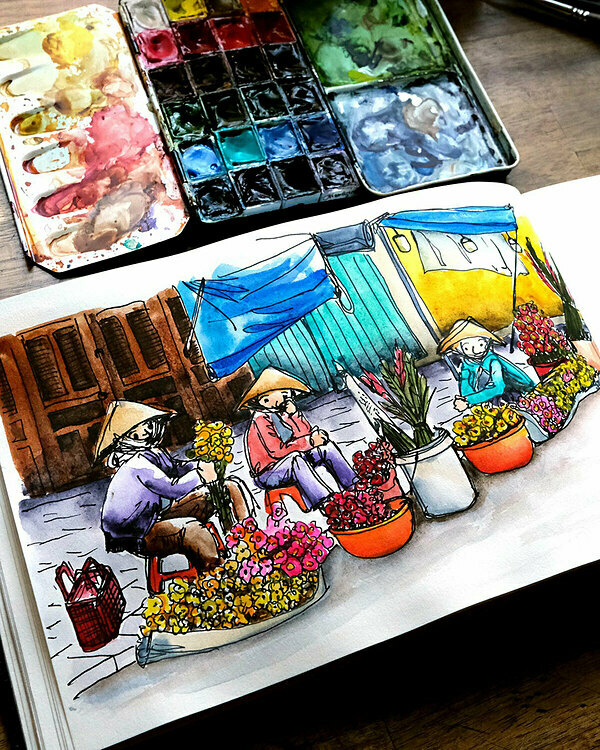 A painting of fresh florists selling on the street in the morning. They sit in plastic tools and are surrounded with buckets of flowers, which is easy for displaying and cleaning up.
