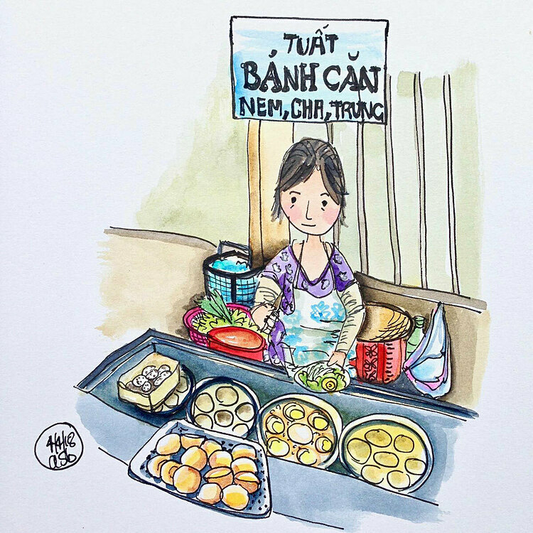 Her favorite piece is the drawing of Tuat, a street vendor selling banh can that made of rice flour and eggs and these steamed cakes come with a lot of toppings to choose from.