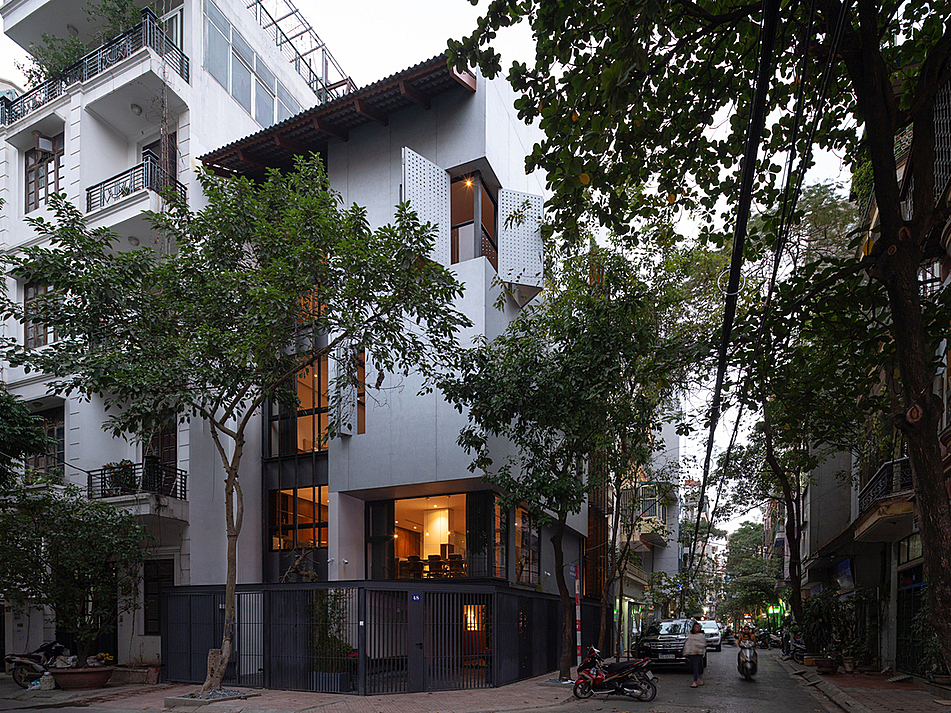 The five-story gem is located at an intersection in Hanoi.