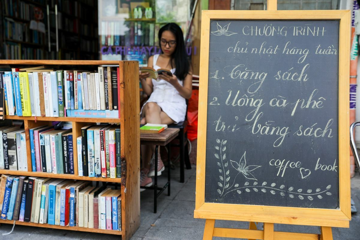 The coffee shop covers only about 60-square-meters but houses around 10,000 books, stored in ceiling high shelves over four years.