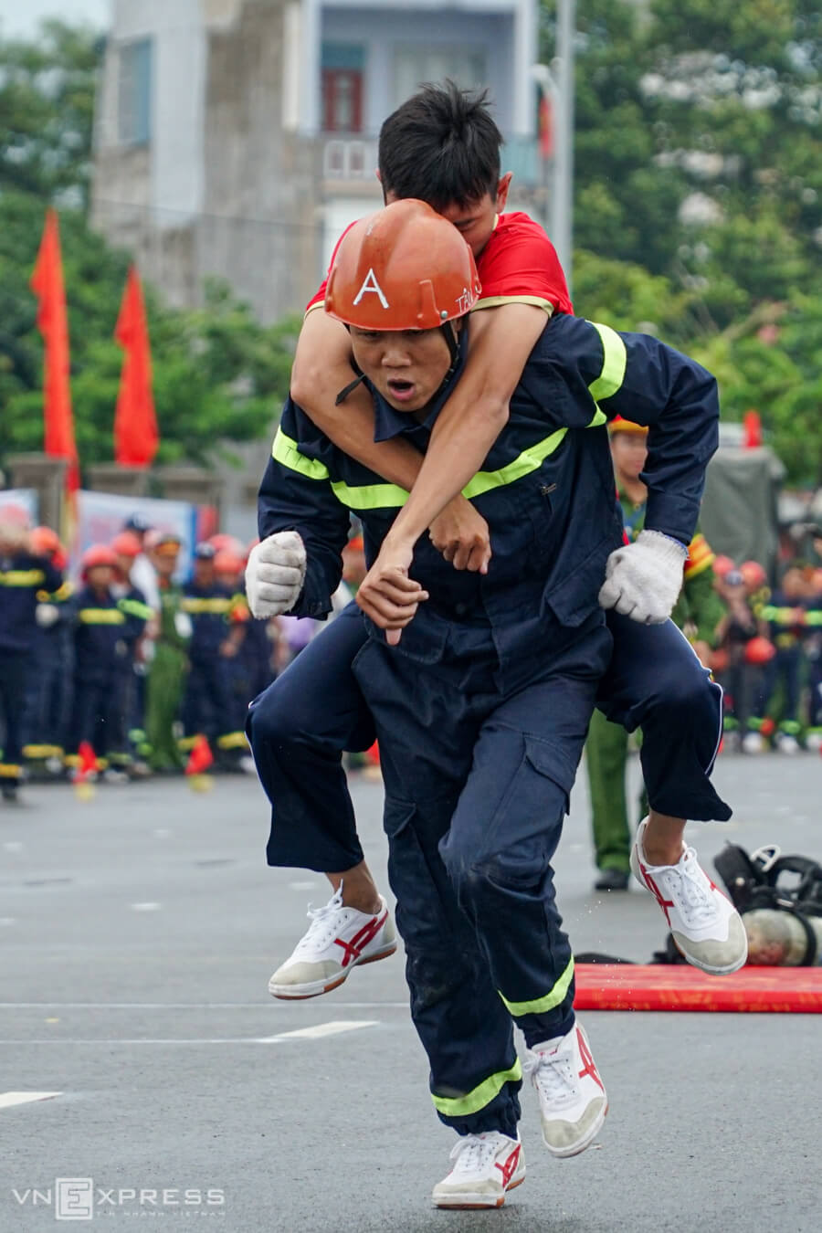 Firefighters fight each other in southern Vietnam contest