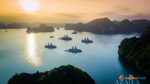 From aerial view, Lan Ha Bay covers breathtaking view of islands.