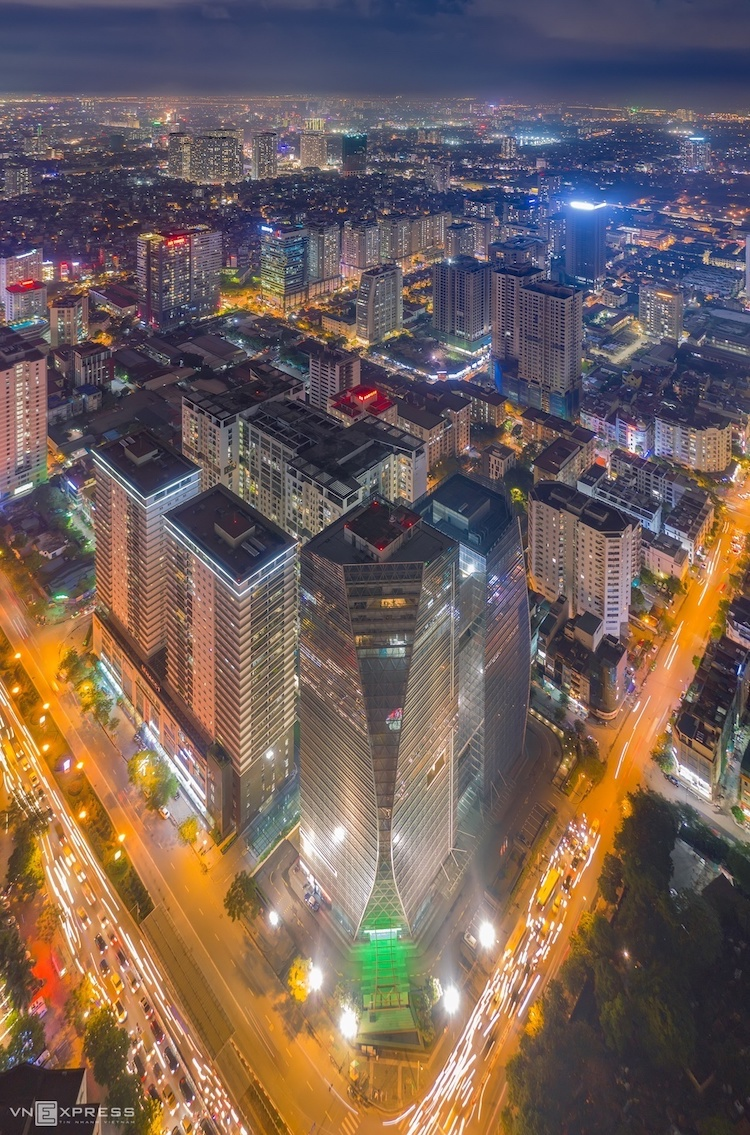 Vietnam by night, an aerial view