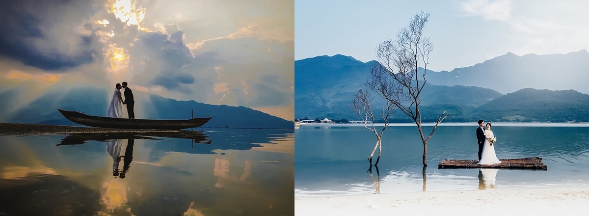 Travel photographer trips on Lap An lagoon