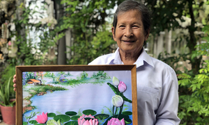 70 years and counting: Vietnamese artist, wife keep making embossed fabric paintings
